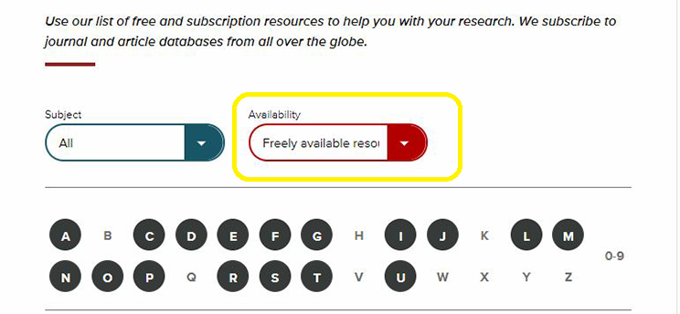 Screenshot of freely available resource filter.