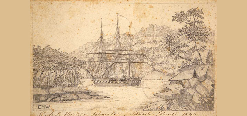 Drawing of 3-masted sailing ship in a cove with tree covered shoreline