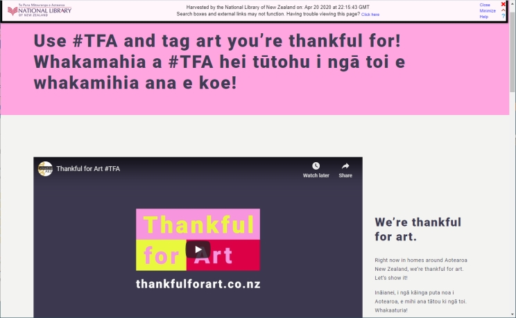 Screenshot of an archived website held in the NDHA showing a pink banner across the top and an embedded Youtube video underneath.