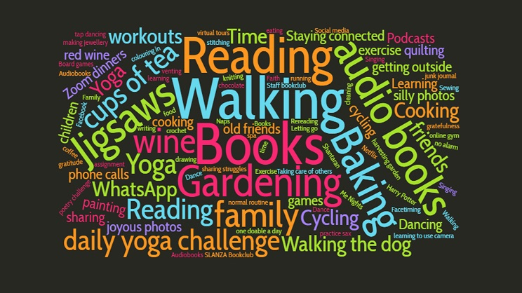 Word cloud of wellbeing words including 'reading', 'walking', 'cycling', and 'practice sax'