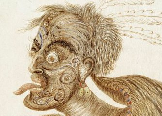Augustus H Florance's watercolour 'Tarra' or the Maori chief 'George' at a war dance, 1858. Shows head and shoulders of a Maori chief rolling his eyes with his tongue protruding.
