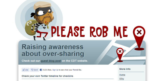 Homepage of Please rob me, a site for raising awareness about oversharing data.