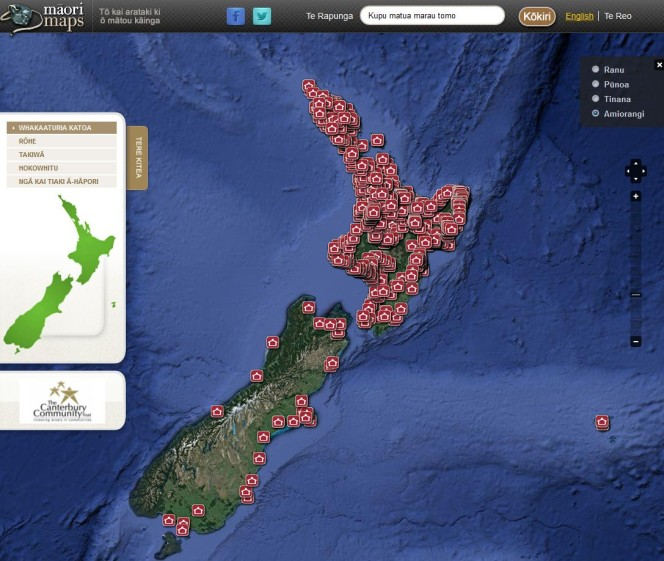The Māori Maps interface, showing New Zealand with icons for each mapped marae.