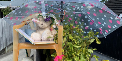 Teddy bear sitting under a pink and white spotted umbrella on a chair 'reading' a book