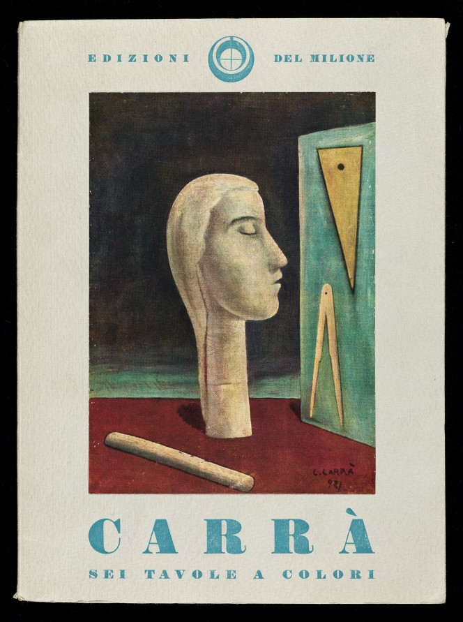 Cover of Carrà, sei tavole a colori, showing a painting with a statue head.