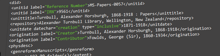 Feature Image: Turnbull unpublished collections metadata