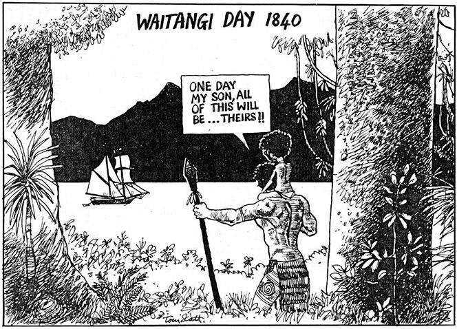 Tom Scott Waitangi Cartoon.