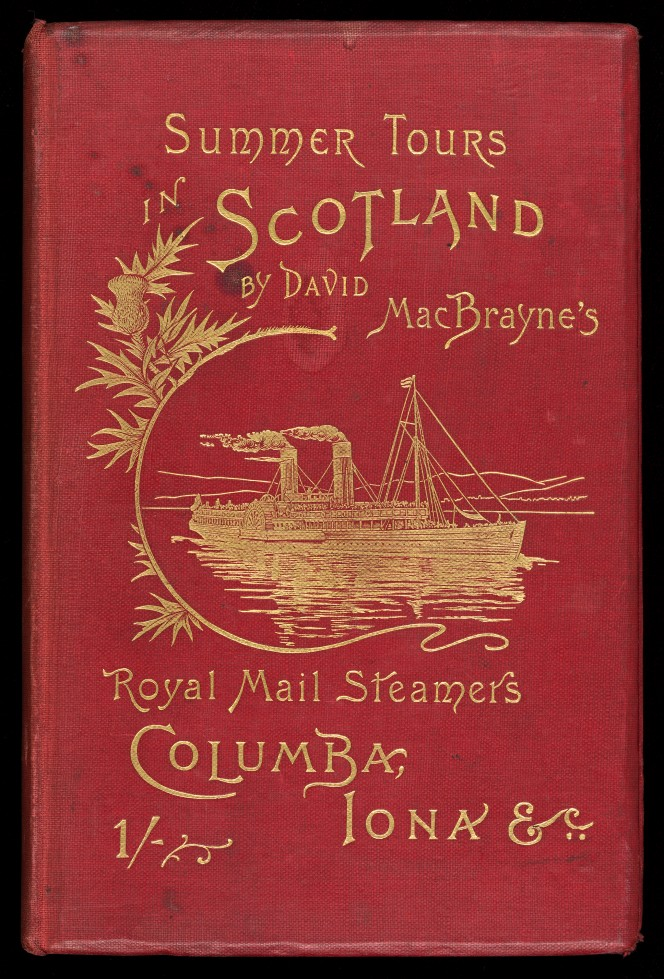 Cover of Summer Tours in Scotland by David MacBrayne, illustrated with a ship in gilded inlay.