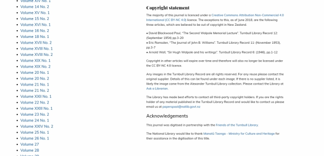 Screenshot of the copyright statement on Papers Past for TLR.