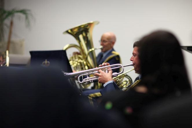 The RNZAF Brass Quintet perform during the book launch.