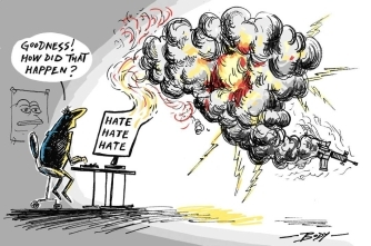 Digital cartoon by Guy Body on social and political issues in New Zealand.