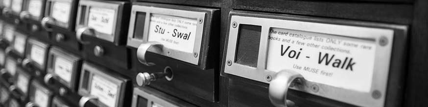 Card catalogue showing the drawers for stu to swal and voi to walk.