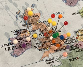 Pins filling the UK and Ireland, and more than a few in Northern Europe.