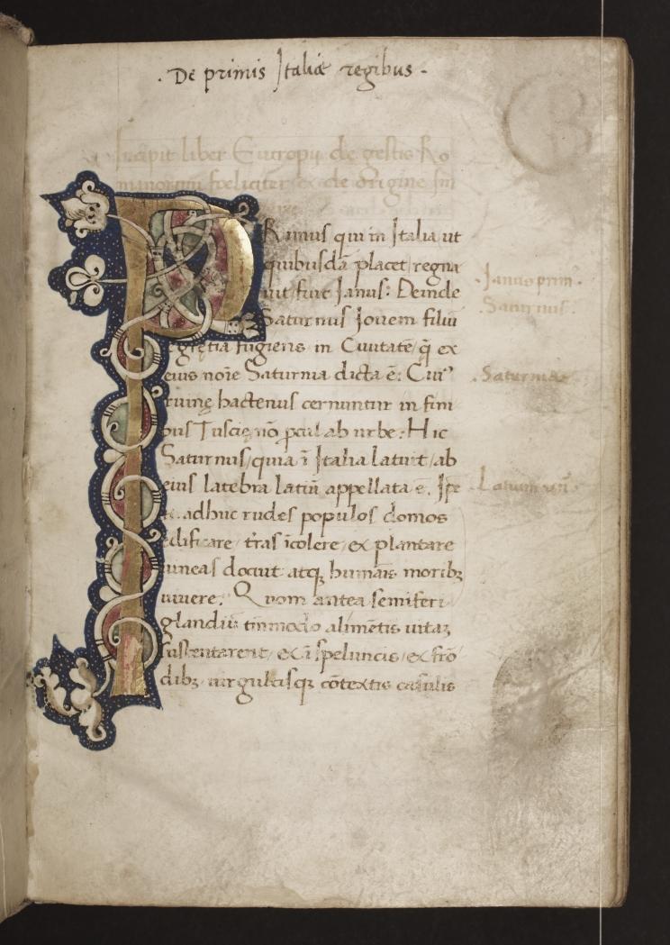 Illuminated initial 'P' on the incipit page of Eutropius's De gesta Romanorum.