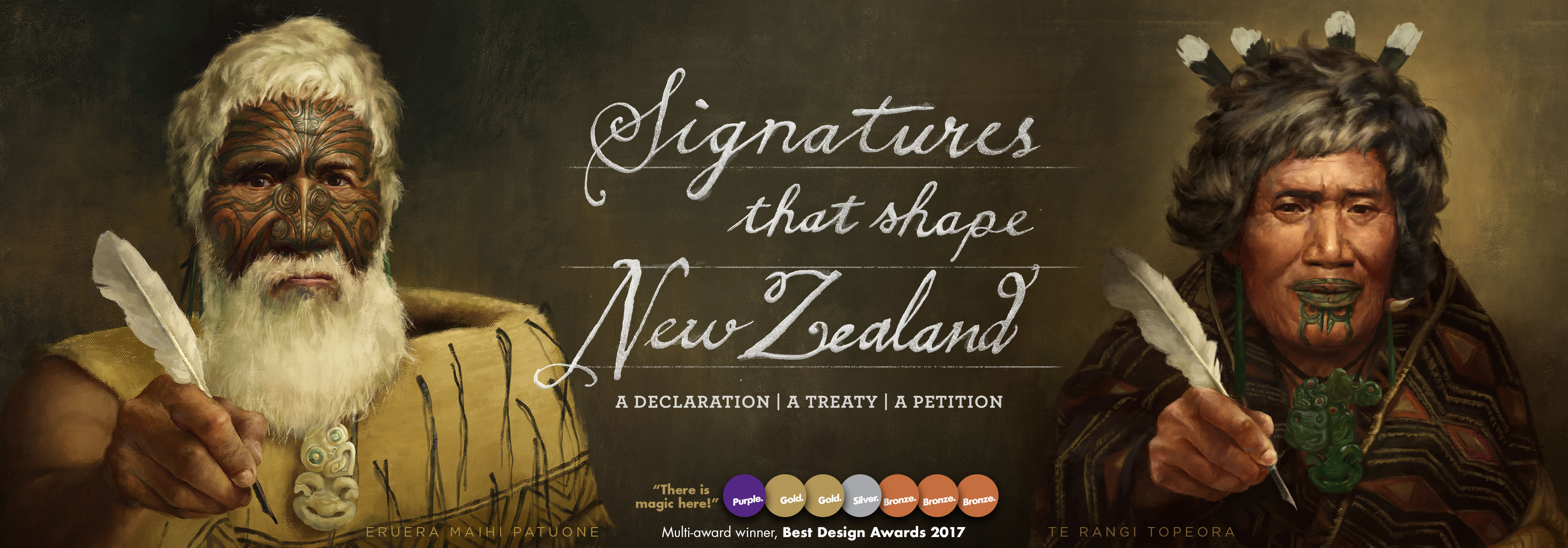 Signatures that shape New Zealand. Shows Patuone and Te Rangi Topeora, offering the pens they signed with.