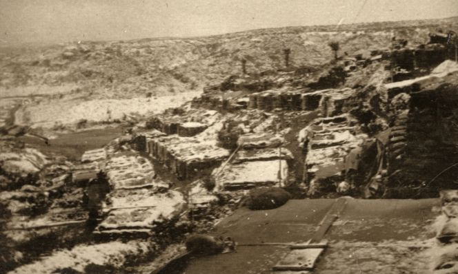 Rows of dugouts (around No 1 Outpost) on Gallipoli under the winter snow November/December 1915.
