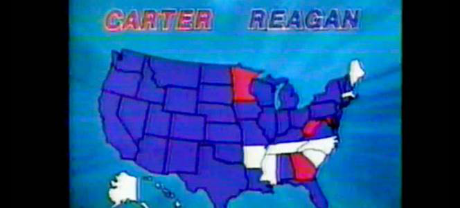 TV grab from CBS in 1980, showing results from that year's election. With the Democratic candidate showing as red and the Republican showing as blue.