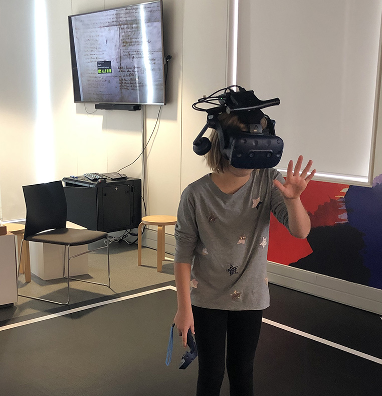 Student using virtual reality device at He Tohu Tāmaki