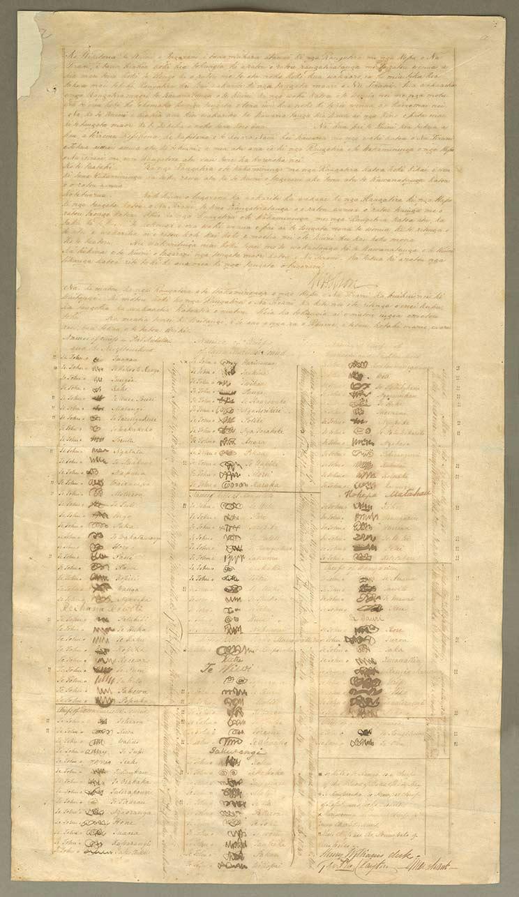 Signatures on the Te Tiriti ki Raukawa Moana, Cook Strait (Henry Williams) sheet of the Treaty of Waitangi.