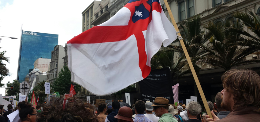 People marching in a TPPA protest.