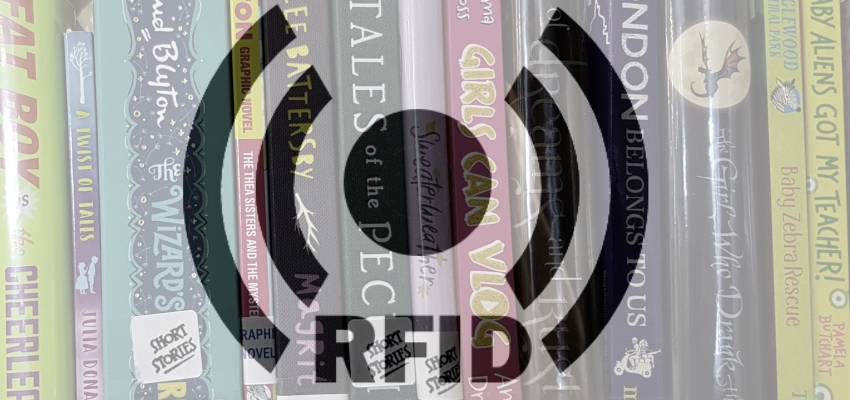 RFID graphic overlaying shelves of library books