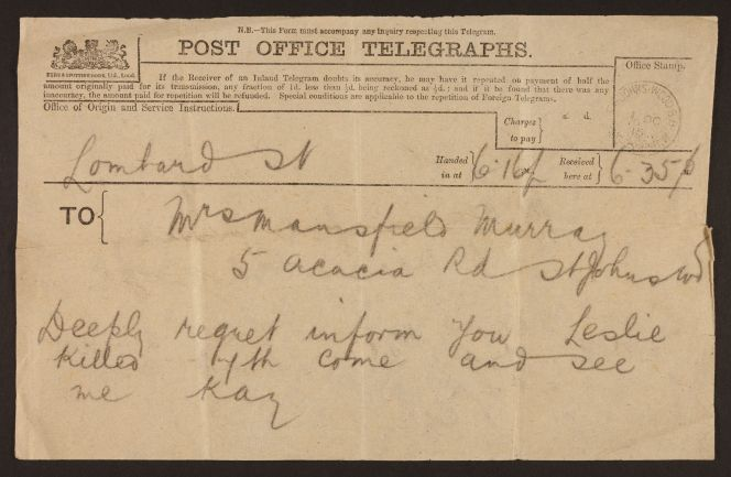 Telegram informing Mansfield of Beauchamp's death. Ref: MS-Papers-7224-05.
