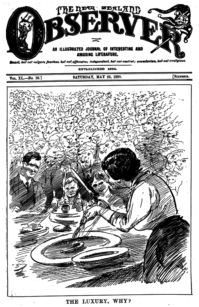 Cartoon from the front page of the Observer magazine, showing a family eating lamb chops while hundreds of sheep look on. The caption reads 'The luxury. Why?'