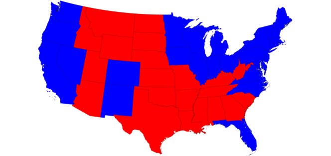 eographically accurate map of the USA, showing states colour coded by their result in the 2008 presidential election.