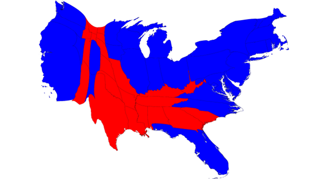 Skewed map, adjusted to match the population of each state. Shows that a significantly larger proportion of voters voted blue.