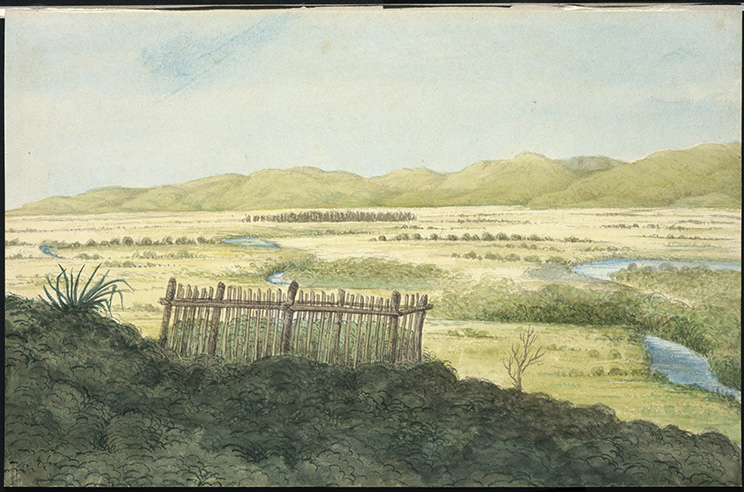 Watercolour painting looking west over the Wairau Plain (with the Tuamarina Stream winding across it) from the fenced grave of Pākehā killed in the 'Wairau Affray.'