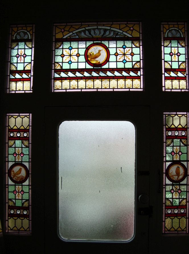 Stained glass window at William Clachan's home in Aro Valley, Wellington.