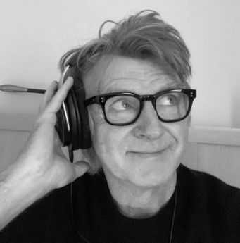 Fangradio podcast host wearing headphones.