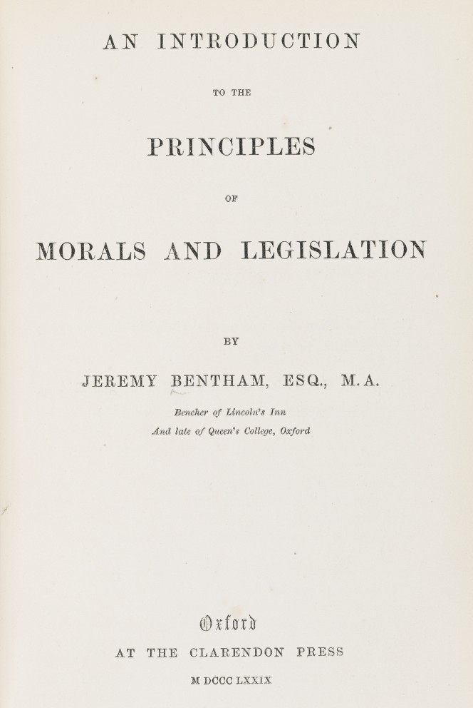 Title page of Jeremy Bentham's An introduction to the principles of morals and legislation.
