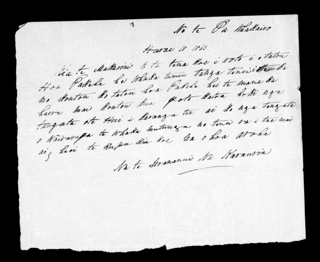 Letter from Te Moananui and Karauria to McLean.