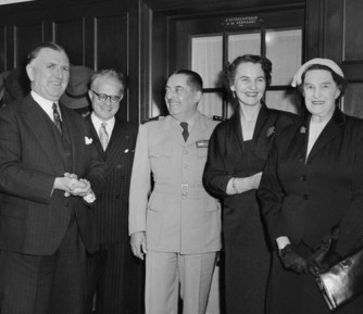 Prime Minister Sidney Holland, French Minister M N Henry, General Augustin Guillaume, Madame Henry and Mrs Florence Holland.