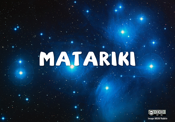 Photo of the Matariki star cluster taken by the Hubble space telescope overlaid with the word 'Matariki'