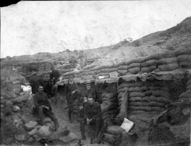 Shows New Zealand soldiers at the Apex near Chunuk Bair, Gallipoli, in late 1915.