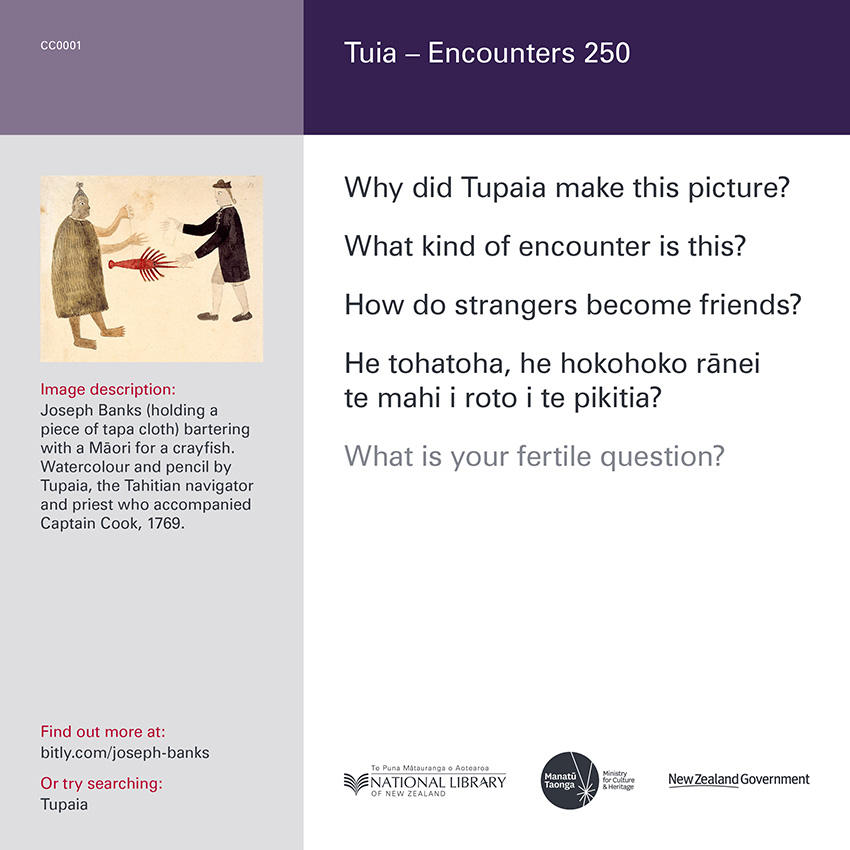 Back of curiosity card CC0001, with image description, fertile questions, and a link with more information
