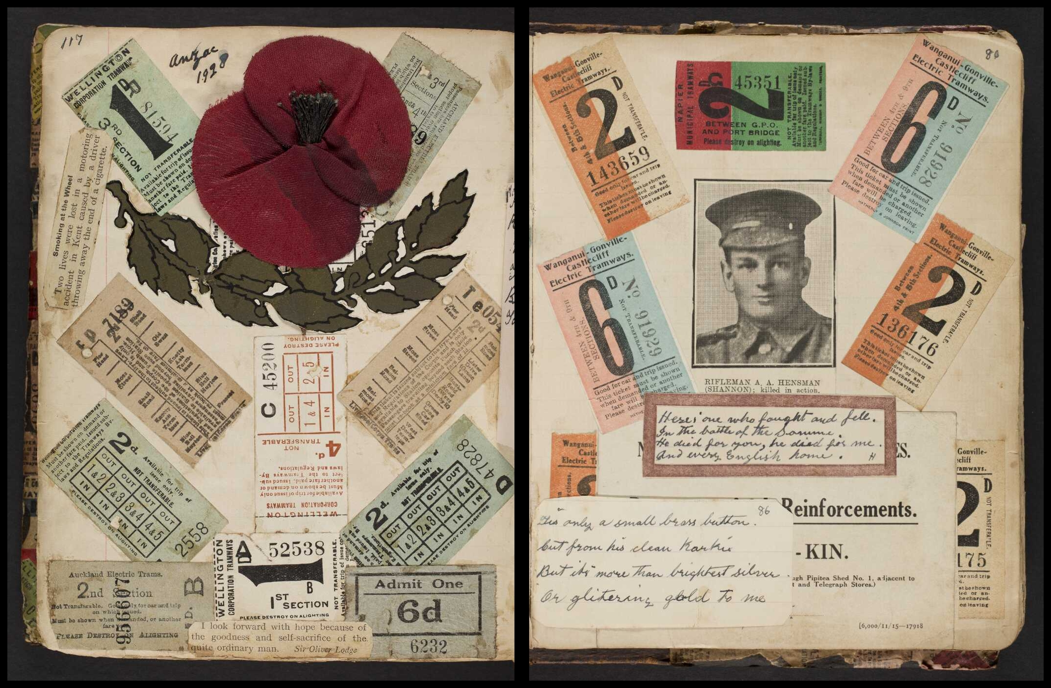 Two pages from a scrapbook shown side by side containing clippings and inscriptions.