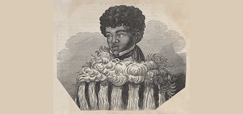 Drawing of young Māori man wearing intricate cloak over shirt with high white collar