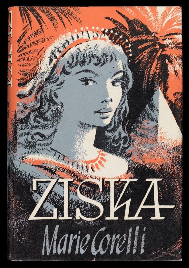 Cover of Ziska, showing a woman in tiara and necklace, in front of a somewhat abstract tree and pyramid scene.