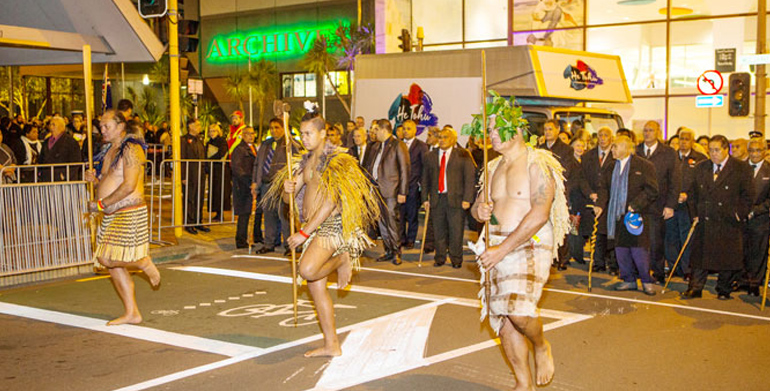 Māori warriors leading the move of the documents.
