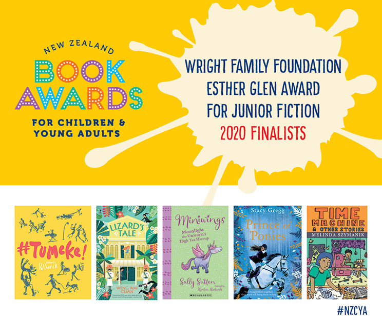 New Zealand Book Awards for Children and Young Adults promotional image for  Junior Fiction Award 2020 finalists with book covers
