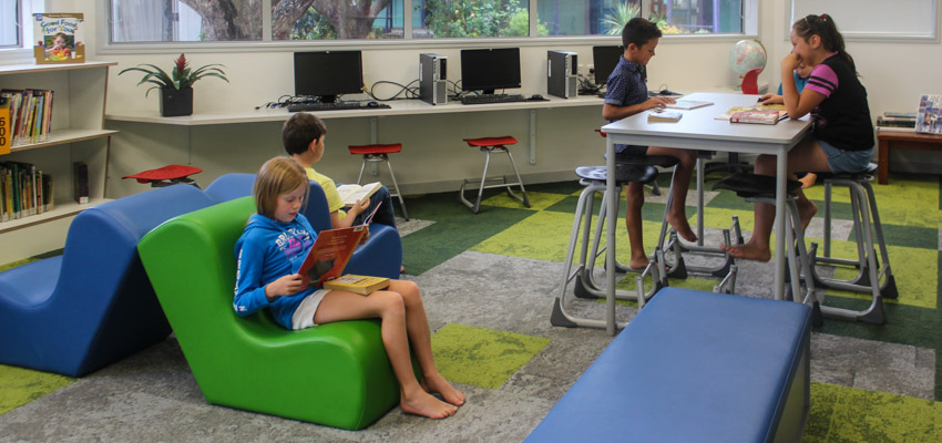 Students working in their school library.
