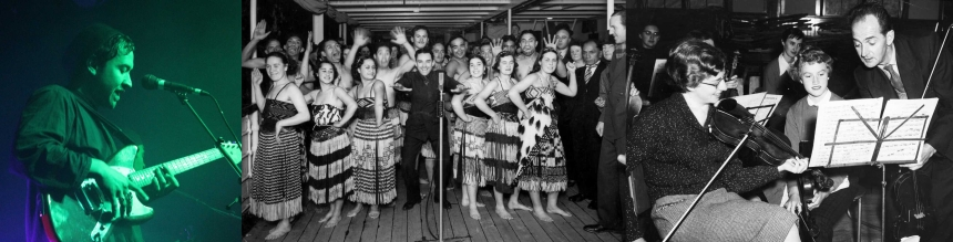 Details of images from the music collections, showing a man playing guitar on stage, members of the Ngati Poneke group, and violinists.
