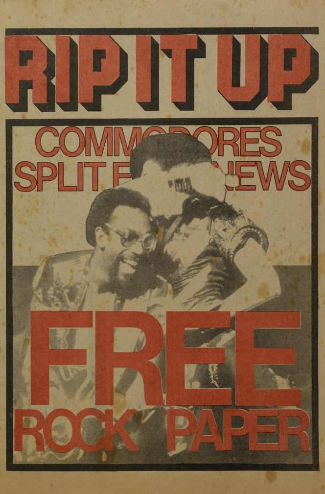 The cover of the very first issue of Rip It Up, June 1977\. The words 'Free Rock Paper' and 'Commodores Split Enz News' appear on the cover in red lettering.