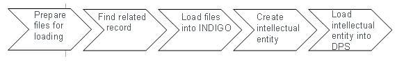 Prepare files for loading, find related record, load files into INDIGO, create intellectual entity, load intellectual entity into DPS