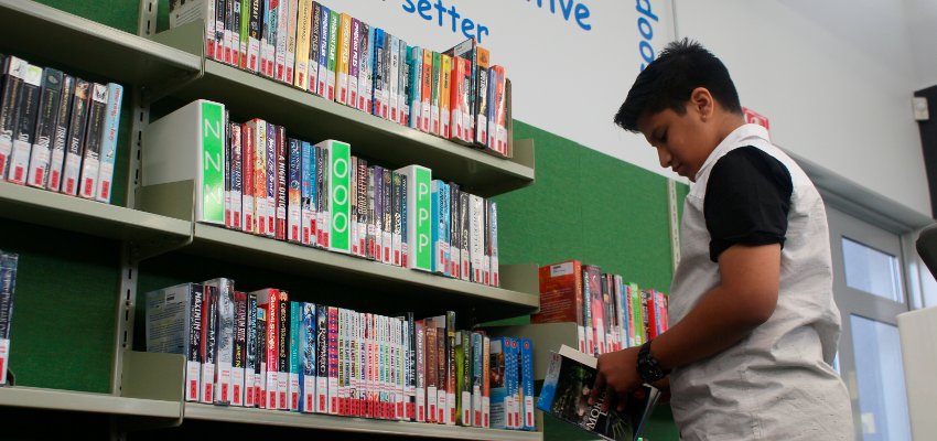 Student looking at books