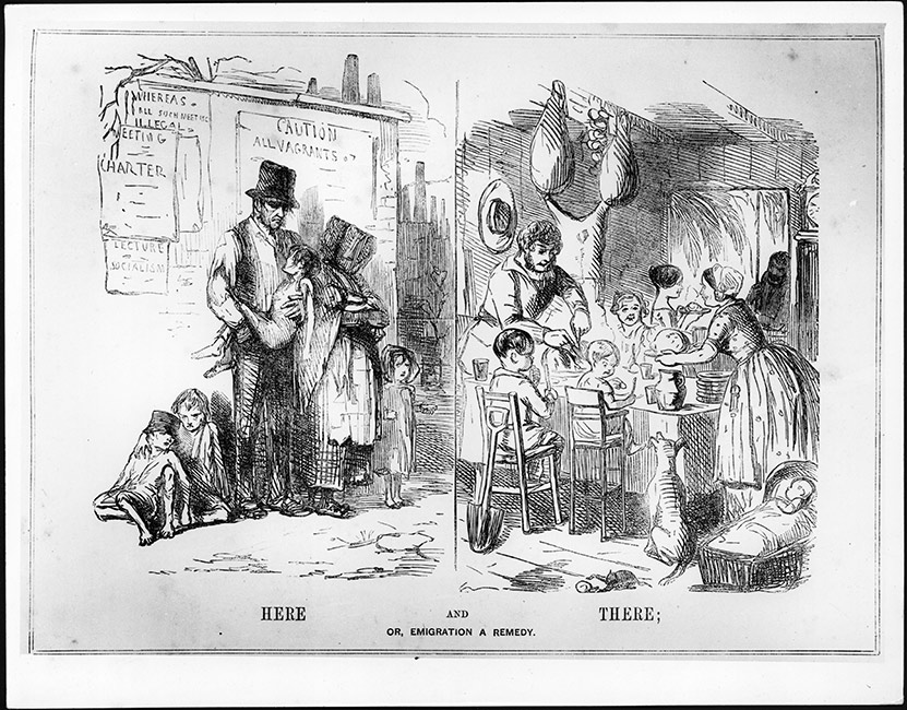 A *Punch* cartoon from 1848 comparing a difficult life in the United Kingdom to a good life in the colonies. Two scenes are depicted. 'Here' (England) shows a sad and sick looking family on the streets; and 'There' (the Colonies) shows a large, happy family sitting around a table with plenty of food and drink.  [Here and there](/files/schools/hm30-here-and-there-english.mp3)
