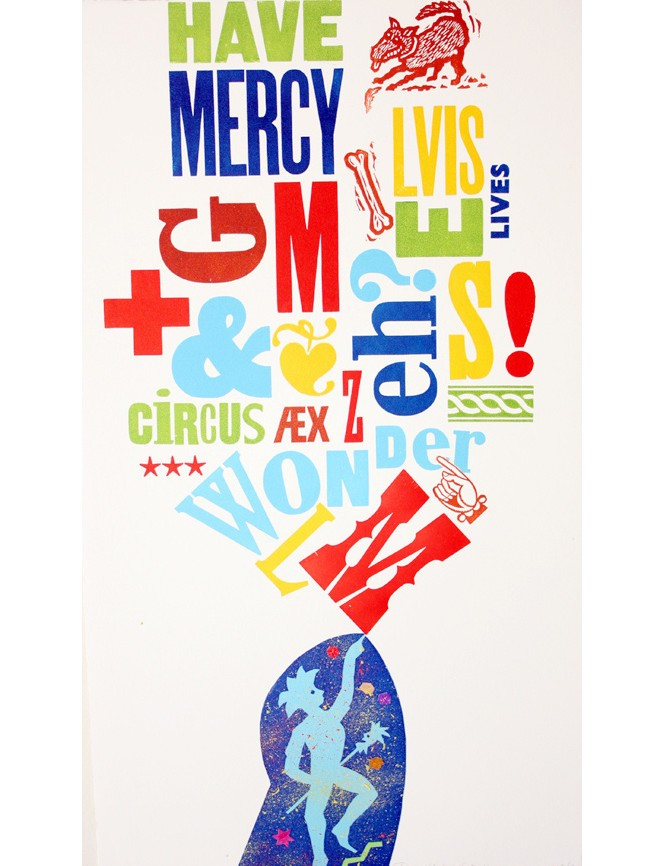 Cover of Tara McLeod's Have Mercy, showing screenprinted words, images, and lettering.